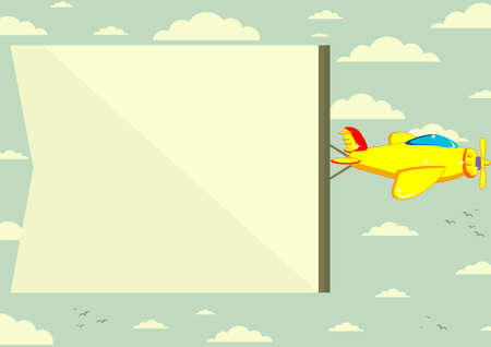 transportation cartoon: Airplane with banner, vector illustration Illustration