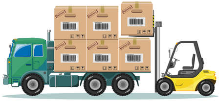 stockpile: Loader ships the goods in warehouse, vector illustration
