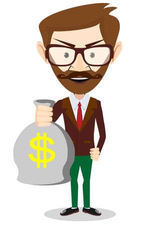bestechung: Junge l�chelnde Gesch�ftsmann mit einem Sack voll Geld, Vektor-Illustration