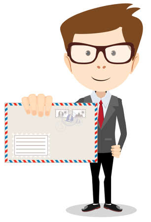 delivered: Modern postman delivered a letter to you, vector illustration