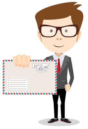 Moderne Postbote einen Brief an Sie, Vektor-Illustration Standard-Bild - 36362052