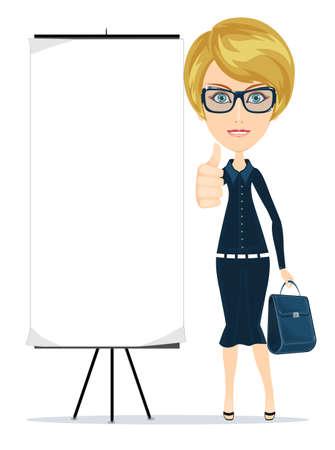女性実業家: ビジネスの女性の親指をベクトル図を表示  イラスト・ベクター素材