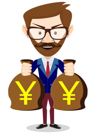 investor: Bisnesmen bag holds the yen, vector illustration Illustration