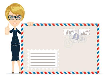 telegrama: Hembra feliz que entrega el correo sobre el fondo blanco Vectores