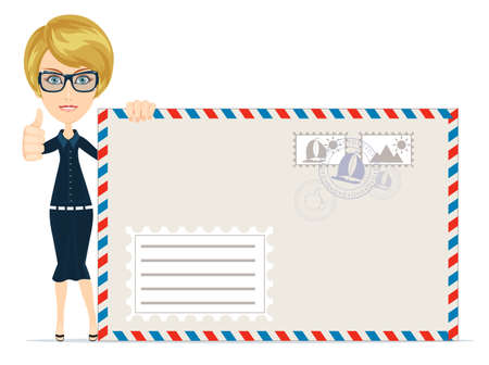 Happy female Delivering Mail Over White Background Illustration