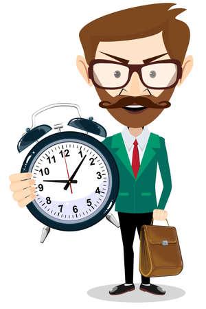 Adult teacher with an alarm clock, vector illustration Stock Illustratie