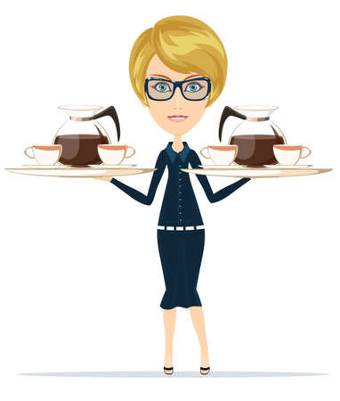 The waitress holding a tray of drink, vector illustration Vector