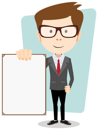 Cartoon business man explaining and pointing at blank white board
