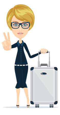 Cartoon woman with luggage, vector illustration Vector