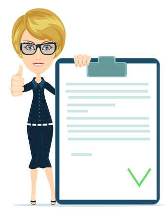 validez: Chica con un documento aprobado, ilustraci�n vectorial