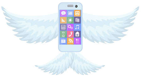 iphon: Mobile phone smartphone with wings on white background vector