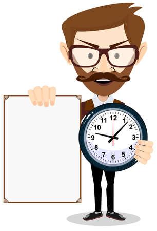 Teacher with a sheet timesheet, vector illustration Illustration
