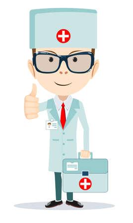 hospital caricatura: Doctor c�modo personaje de dibujos animados plana Vectores