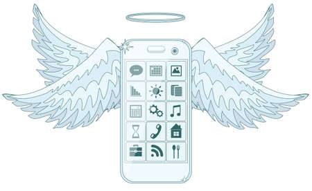 iphon: Mobile phone smartphone collection on white background. Illustration