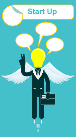 Vector happy lamp head businessman with victory sign Vector