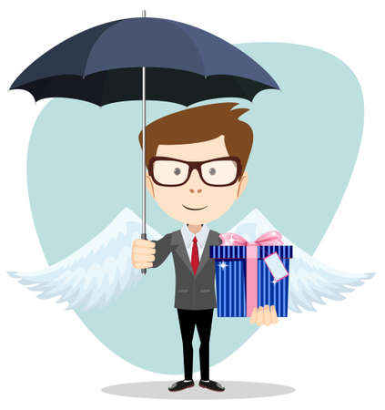 happy people white background: Young man with an umbrella, vector illustration Illustration