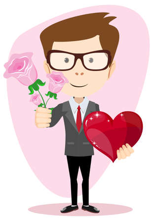 womens work: Young man holding a rose and heart, vector illustration