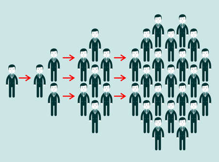 Concept of viral marketing with groups people separated by arrows.