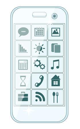 iphon: Phone stylish menu with icons, vector illustration Illustration