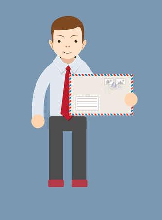 delivering: El hombre de negocios que entrega el correo. Vector