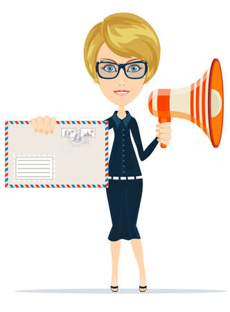 white people: Beautiful girl delivered a letter and notify you through a loudspeaker, vector illustration