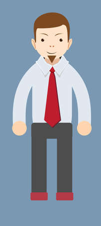 trustful: Cartoon smiling businessman. Vector Illustration