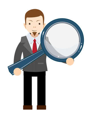 Businessman with a magnifying glass in his hands