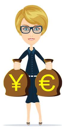 女性実業家: ベクトル図のお金の袋を保持しているビジネス女性