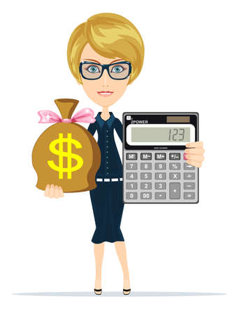 Accountant with a Calculator, Vector Illustration Çizim