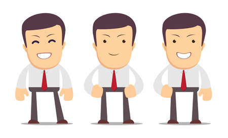 sociologist: Set of manager character in different interactive poses. Vector Illustration