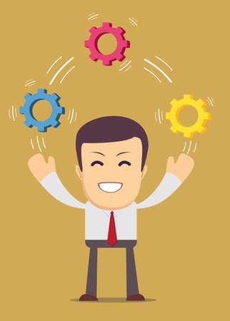 pensamiento estrategico: Malabares Hombre con ruedas dentadas, que simboliza el pensamiento estrat�gico, la creatividad. Vectores