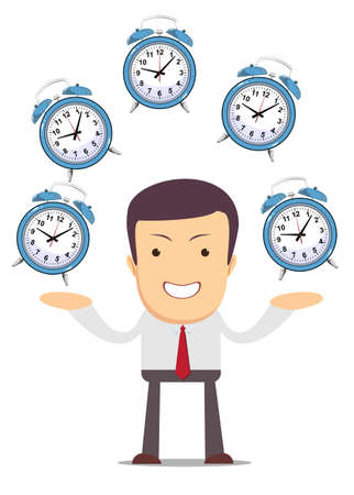 Businessman juggling with alarm clocks, symbolizing time management.