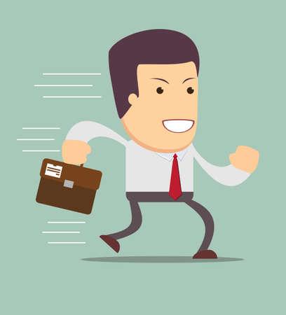 Smiling businessman running to work.