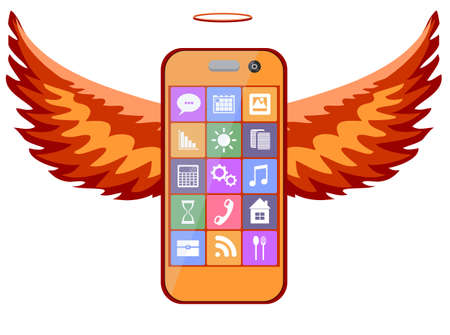 iphon: Mobile phone with wings, vector illustration