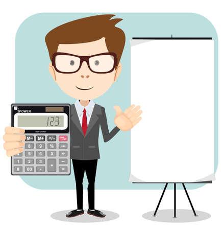 Accountant met een rekenmachine, vector illustratie