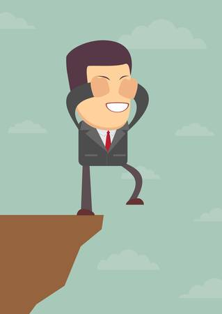 overhang: Businessman walks off a cliff. Vector illustration Illustration