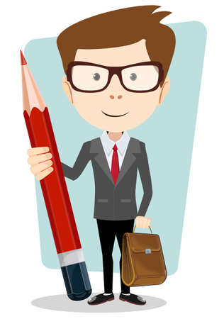appreciating: Teacher with a pencil to correct and study, vector illustration