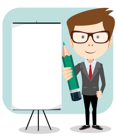 Businessman with a poster and pencil, vector illustration