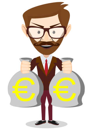 money euro: of a happy young cartoon Hipster businessman with bag full money euro. Vector Illustration
