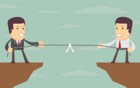 Abstract Businessmen Tug of war on a cliff. Vector illustration