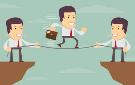 precipice: Abstract Businessmen Pulling together on a cliff. Illustration