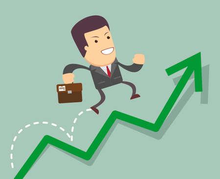 business graph: Businessman jump over growing chart