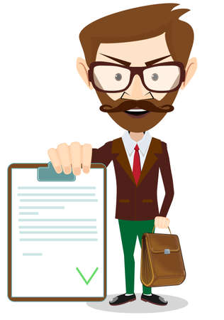 sign ok: Successful young businessman with the document, vector illustration