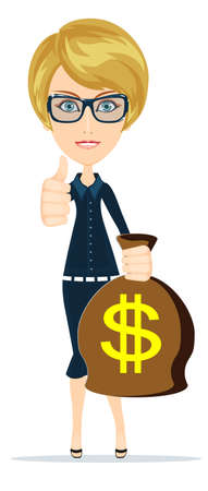 Successful businesswoman with a Bag of Dollar, Gold Cash. Vector Illustration Vector