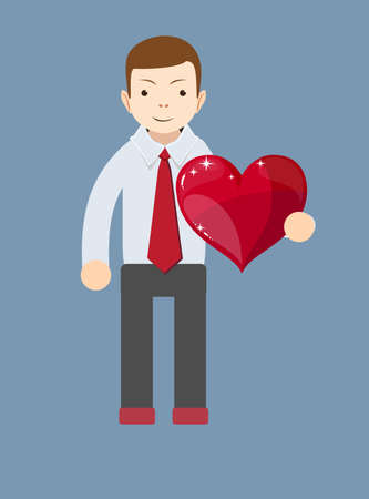 declare: Cartoon businessman smiling and holding a big red heart. Vector Illustration