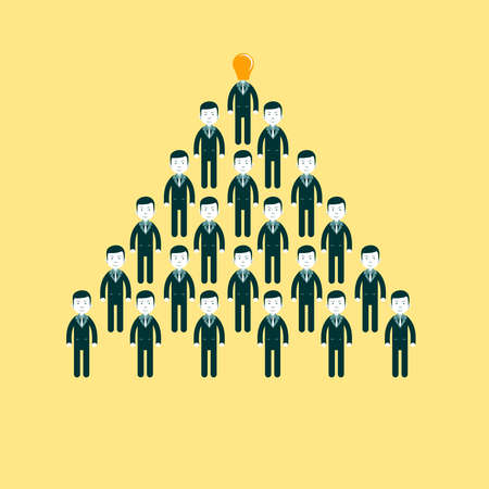 commando: pyramid of people working in the commando, vector illustration Illustration