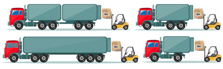 goes: Long truck with cargo goes to the warehouse, vector illustration