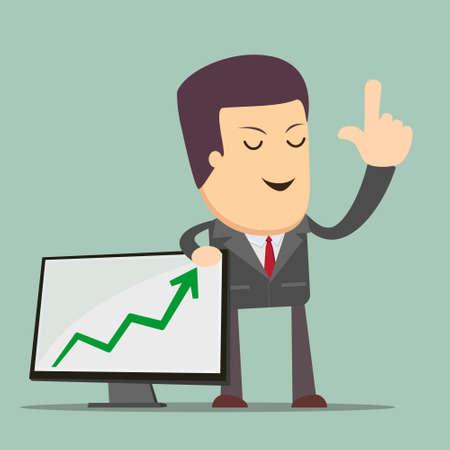 appreciating: Businessman Presenting Business Growth Chart
