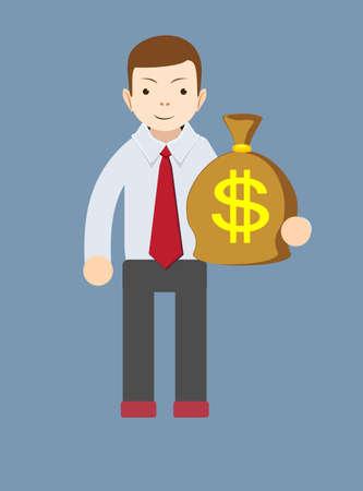 bestechung: Gesch�ftsmann oder Bankier mit einem Sack voll Gold-Bargeld-Dollar. Vector Illustration Illustration