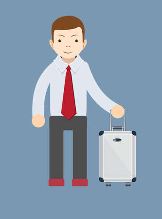 well dressed: Office worker with a bag for travel, vector illustration